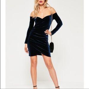 Missguided Navy Blue Velvet Off the Shoulder Dress